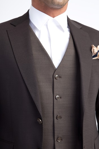 Erkek Giyim - Slim Fit Yelekli Kareli Takım Elbise