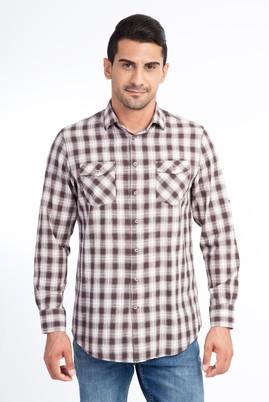 Erkek Giyim - Kahve XL XL Uzun Kol Ekose Gömlek