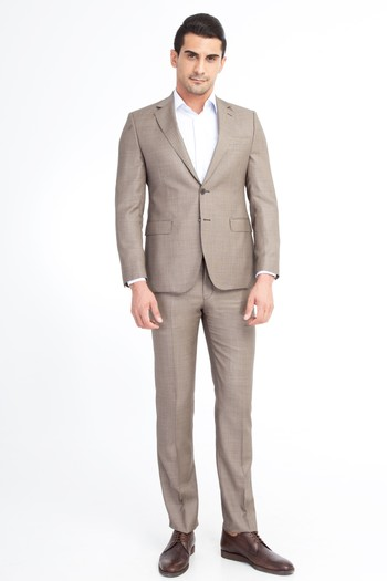 Erkek Giyim - Slim Fit Kuşgözü Takım Elbise