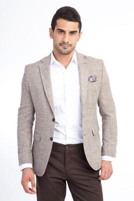 Slim Fit Desenli Klasik Ceket