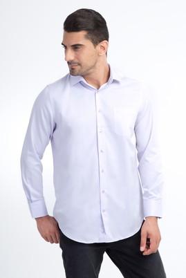 Erkek Giyim - Lila M M Uzun Kol Desenli Klasik Gömlek