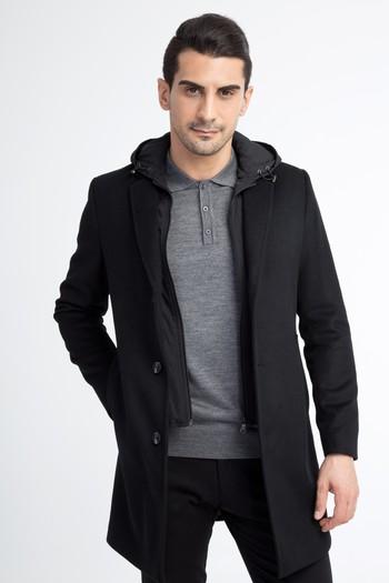 Erkek Giyim - Kapüşonlu Kaşe Yün Kaban