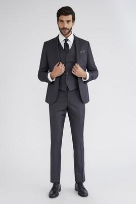 Slim Fit Yelekli Desenli Takım Elbise