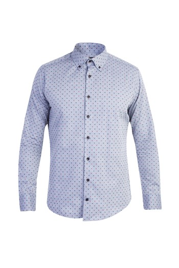 Uzun Kol Desenli Slim Fit Gömlek