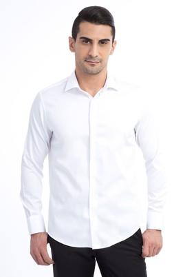 Uzun Kol Düz Saten Slim Fit Gömlek