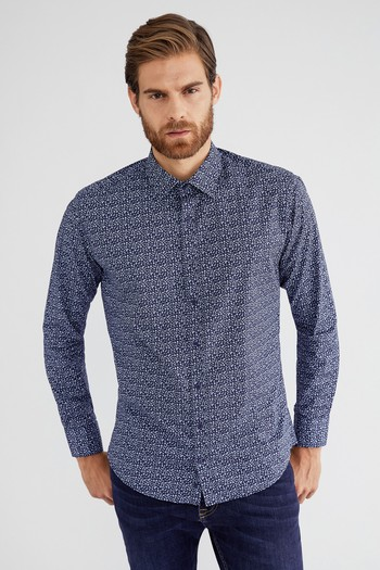 850d233e8a4da Erkek Lacivert Uzun Kol Desenli Slim Fit Gömlek | 9K4SC72725AL - Kiğılı