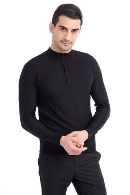 Erkek Giyim - Bato Yaka Fermuarlı Slim Fit Triko Kazak