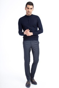 Slim Fit Desenli Klasik Pantolon