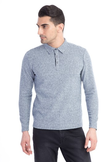 Polo Yaka Tasarım Slim Fit Sweatshirt
