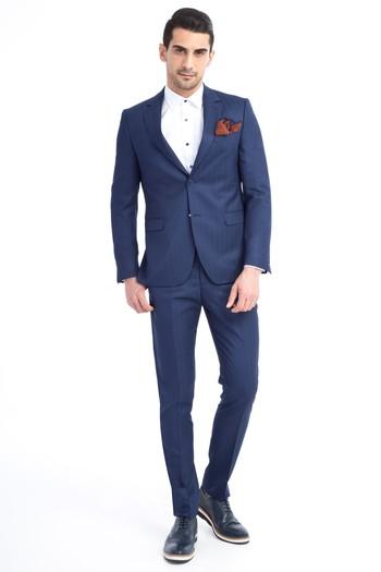 aadbea68bcdb1 Erkek Mavi Slim Fit Çizgili Takım Elbise | 9K1U4C0396F50 - Kiğılı