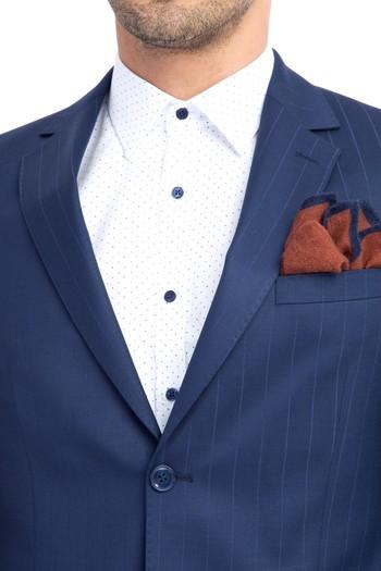 Slim Fit Çizgili Takım Elbise