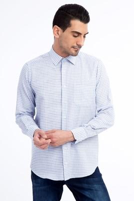 Erkek Giyim - Açık Mavi M M Uzun Kol Ekose Klasik Gömlek