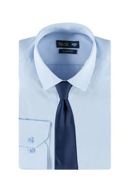 Slim Fit Mavi Gömlek Kravat Set