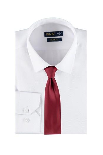 Erkek Giyim - Slim Fit Beyaz Gömlek Kravat Set
