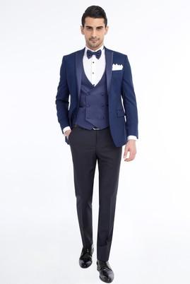 Erkek Giyim - Slim Fit Desenli Smokin / Damatlık