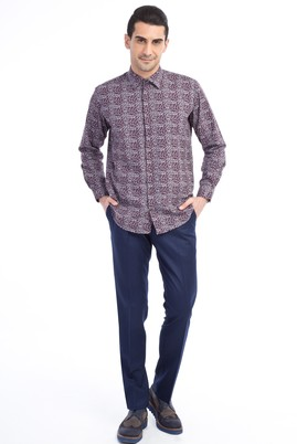 Slim Fit Düz Flanel Pantolon