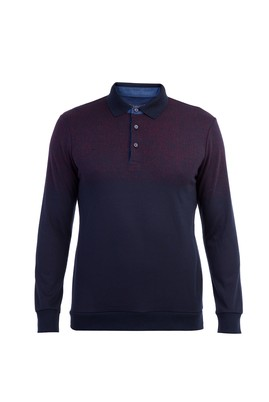 Polo Yaka Desenli Sweatshirt