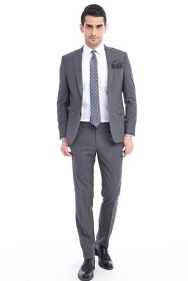 Slim Fit Düz Yün Takım Elbise