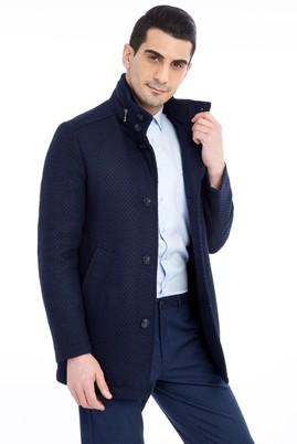 Erkek Giyim - Desenli Kaşe Yün Kaban