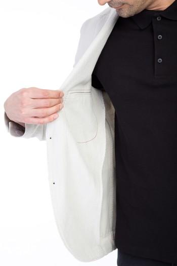 Slim Fit Desenli Spor Yıkamalı Ceket