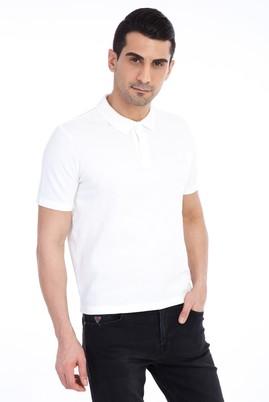 Erkek Giyim - Beyaz L L Regular Fit Polo Yaka Tişört