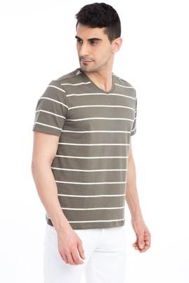 Erkek Giyim - V Yaka Çizgili Regular Fit Tişört