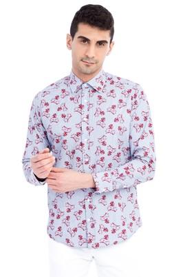 Erkek Giyim - Mavi L L Uzun Kol Desenli Slim Fit Gömlek