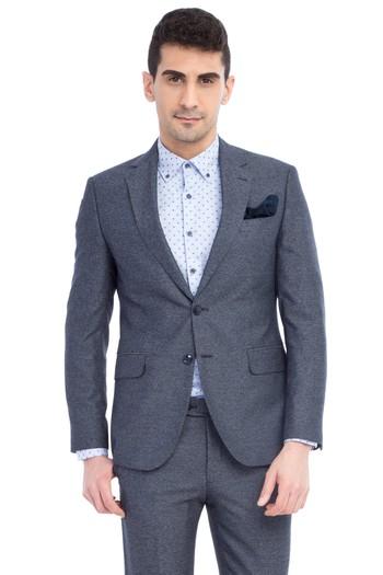 Erkek Giyim - Slim Fit Desenli Takım Elbise