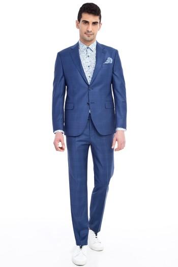 766b74afec06a Erkek Mavi Slim Fit Kareli Takım Elbise | 9Y1X9K5336F46 - Kiğılı