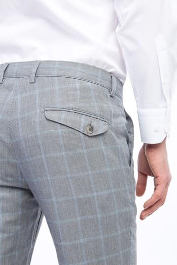 Erkek Giyim - Slim Fit Spor Kareli Pantolon