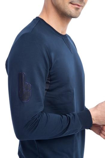 Bisiklet Yaka Tasarım Slim Fit Sweatshirt