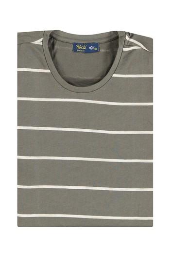 Erkek Giyim - Bisiklet Yaka Çizgili Regular Fit Tişört