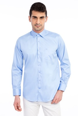 Uzun Kol Klasik Düz Saten Gömlek