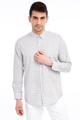 Erkek Giyim - Bej M M Uzun Kol Ekose Gömlek