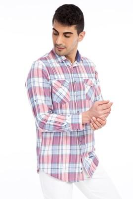 Erkek Giyim - Kırmızı L L Uzun Kol Ekose Gömlek