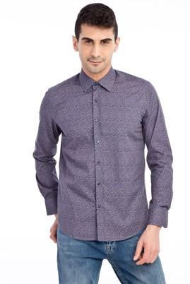 Erkek Giyim - Antrasit M M Uzun Kol Desenli Slim Fit Gömlek