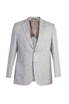 Erkek Giyim - İtalyan Ekose Keten Ceket