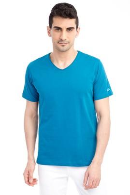 Erkek Giyim - V Yaka Nakışlı Regular Fit Tişört