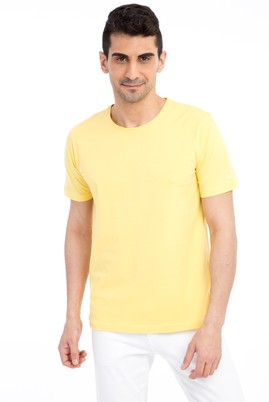 Erkek Giyim - Sarı XL XL Bisiklet Yaka Nakışlı Regular Fit Tişört