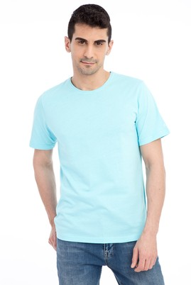 Erkek Giyim - Mavi 3X 3X Bisiklet Yaka Nakışlı Regular Fit Tişört