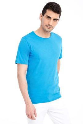 Erkek Giyim - Turkuaz 3X 3X Bisiklet Yaka Nakışlı Regular Fit Tişört