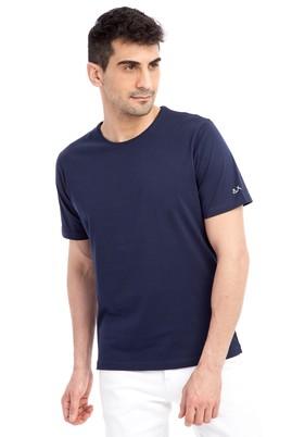Erkek Giyim - Lacivert XXL XX Bisiklet Yaka Nakışlı Regular Fit Tişört