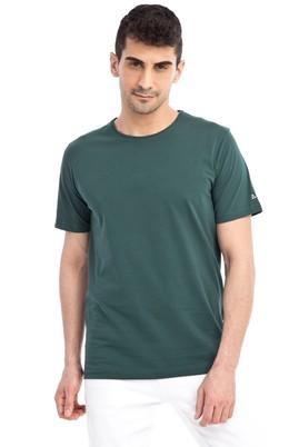 Erkek Giyim - KOYU YESİL L L Bisiklet Yaka Nakışlı Regular Fit Tişört