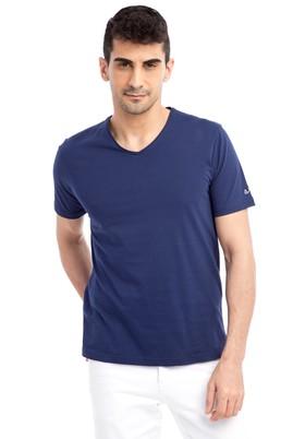 Erkek Giyim - Lacivert 3X 3X V Yaka Nakışlı Regular Fit Tişört