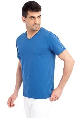 Erkek Giyim - Mavi 3X 3X V Yaka Nakışlı Regular Fit Tişört