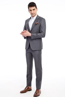 Erkek Giyim - Slim Fit Çizgili Takım Elbise