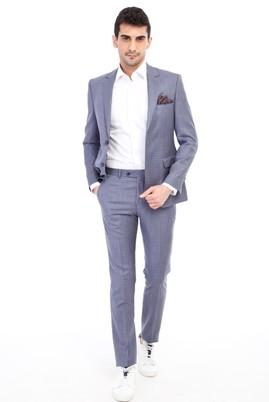 Erkek Giyim - Açık Mavi 46 46 Slim Fit Kareli Takım Elbise