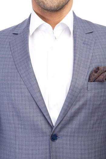 Erkek Giyim - Slim Fit Kareli Takım Elbise