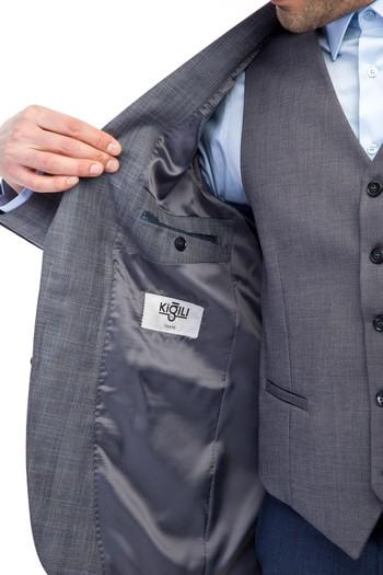 Erkek Giyim - Slim Fit Yelekli Kombinli Ekose Takım Elbise