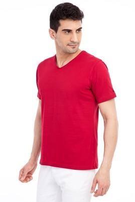 Erkek Giyim - Kırmızı 3X 3X V Yaka Nakışlı Regular Fit Tişört